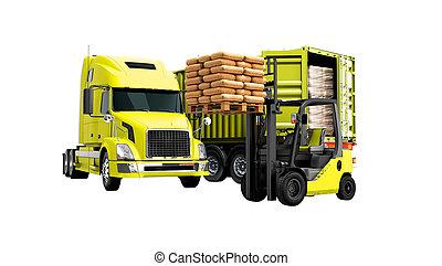 carga, sombra, render, aislado, remolque, edificio, paleta, descargar, naranja, no, fondo blanco, materiales, concepto, amarillo, camión, carretilla elevadora, 3d, moderno