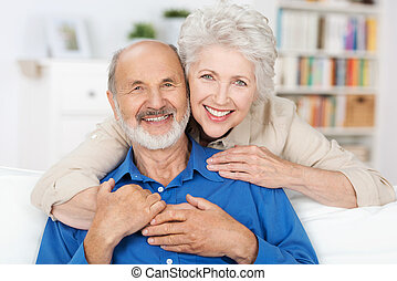 cariñoso, pareja, anciano