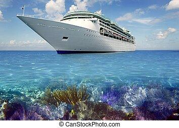 caribe, cuise, vacaciones, arrecife, barco, vista