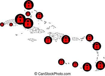 caribe, vector, malla, red, lockdown, mapa, islas, polygonal