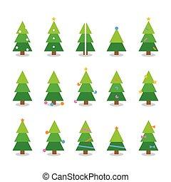 caricatura, árbol invierno, navidad, colorido, conjunto, vector