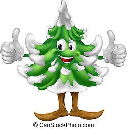 caricatura, árbol, navidad, hombre