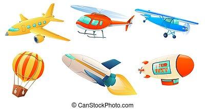 caricatura, aire, colección, transporte