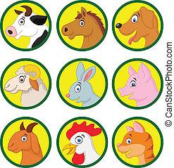 caricatura, animal, colección, granja
