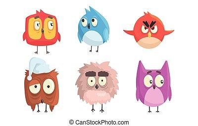 caricatura, aves, vector, illustration., grande, eyes.
