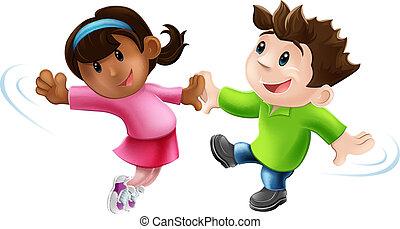 caricatura, bailarines, dos, bailando