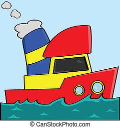 caricatura, barco