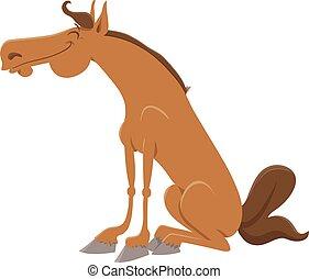 caricatura, caballo, feliz, carácter, ilustración