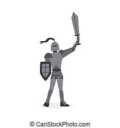 caricatura, carácter, plano, caballero, isolated., espada, vector, ilustración, medieval
