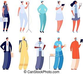 caricatura, caracteres, médico, nurse., doctors, team., administradores, hospital, mujer, uniforme, salud, vector, specialist., personal, plano, clínica