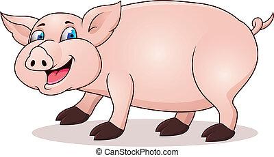 caricatura, cerdo