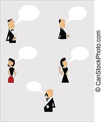 caricatura, charla, gente