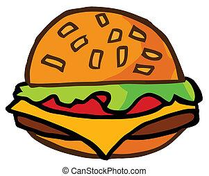 caricatura, cheeseburger