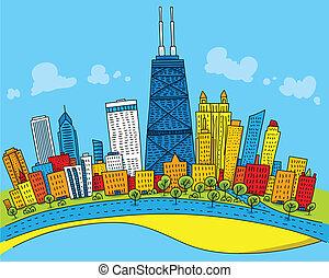 caricatura, chicago