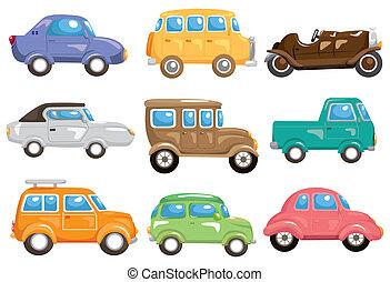 caricatura, coche, icono