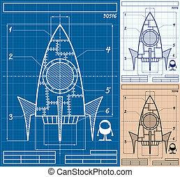 caricatura, cohete, cianotipo