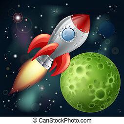 caricatura, cohete, espacio