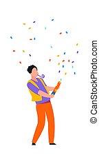 caricatura, colorido, hombre, feliz, carácter, vector, fiesta, arriba, galleta, diversión, paper., niño, soplar, birthday., holiday., bailando, pedazos, festivo, confetti., macho, celebrar, acontecimiento, teniendo