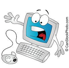 caricatura, computadora