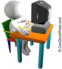 caricatura, computadora computadora personal, usos, usuario, 3d, vista lateral