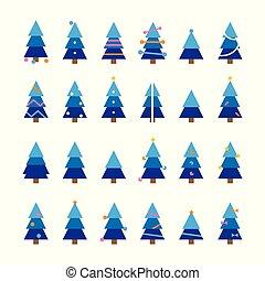 caricatura, conjunto, árbol de navidad, invierno, colorido, vector