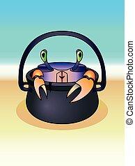 caricatura, crab., ocean., caldero, cangrejo, seashore., carácter, divertido