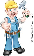 Caricatura de caricatura Handyman con martillo