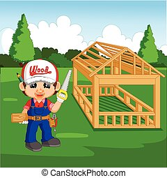 Caricatura de carpintero profesional