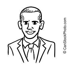 Caricatura de dibujos de Barack Obama, vector de garabatos en blanco y negro. Un simple dibujo del presidente de los Estados Unidos.
