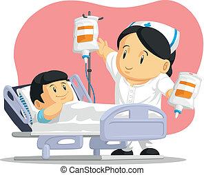 Caricatura de enfermera ayudando al paciente