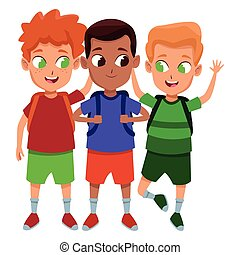 Caricatura de estudiantes de la infancia adorable