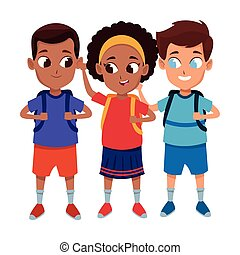 Caricatura de estudiantes lindos de la infancia