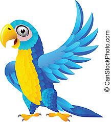Caricatura de guacamayo azul