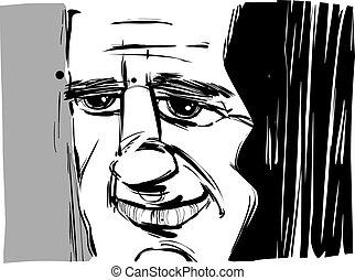 Caricatura de hombre sonriente