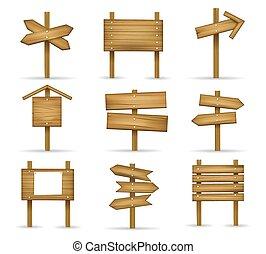 caricatura, de madera, postes indicadores