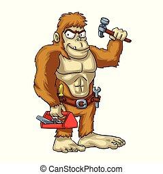 Caricatura de manitas Bigfoot - monstruo mítico