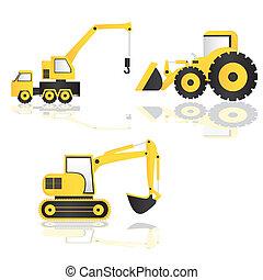 Caricatura de maquinaria de construcción