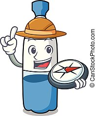 Caricatura de mascota de la botella de agua exploradora
