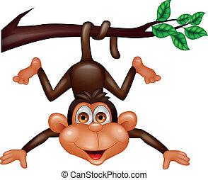 Caricatura de mono feliz