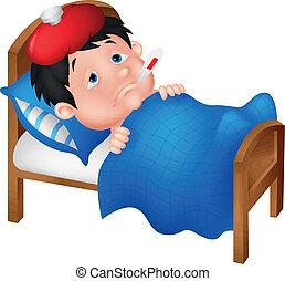 Caricatura de niño enfermo en la cama