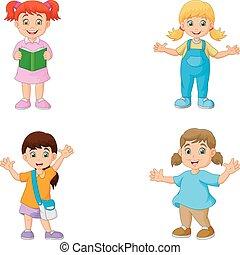 Caricatura de niños felices