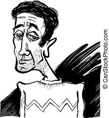 Caricatura de un joven