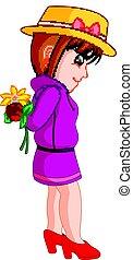 Caricatura de una chica con una flor
