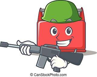 Caricatura del personaje de la caja de herramientas del ejército