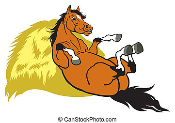 caricatura, descansar, caballo
