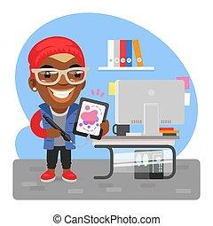 caricatura, diseñador gráfico, hombre
