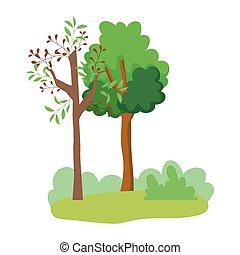 caricatura, diseño, arbustos, follaje, árboles, bosque, hojas, pasto o césped