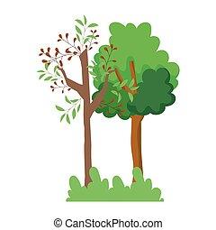 caricatura, diseño, arbustos, follaje, árboles, bosque, hojas, pasto o césped, ramas