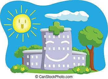 caricatura, divertido, edificio, hospital