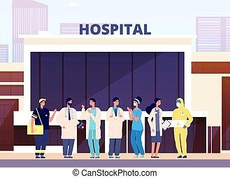 caricatura, edificio, personal, enfermera, team., médicos, vector, ilustración médica, profesional, hospital, especialista, uniform., salud, doctors.